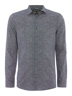 Javier slim fit fan print long sleeve shirt