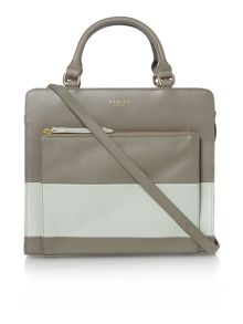 Radley Clerkenwell stripe grey medium zip tote bag