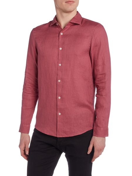 Michael Kors Slim fit linen dye long sleeve shirt