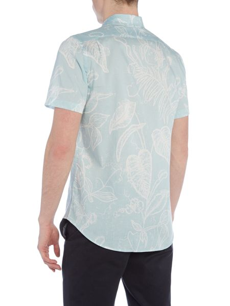 PS By Paul Smith Regular fit large leaf print short sleeve shirt