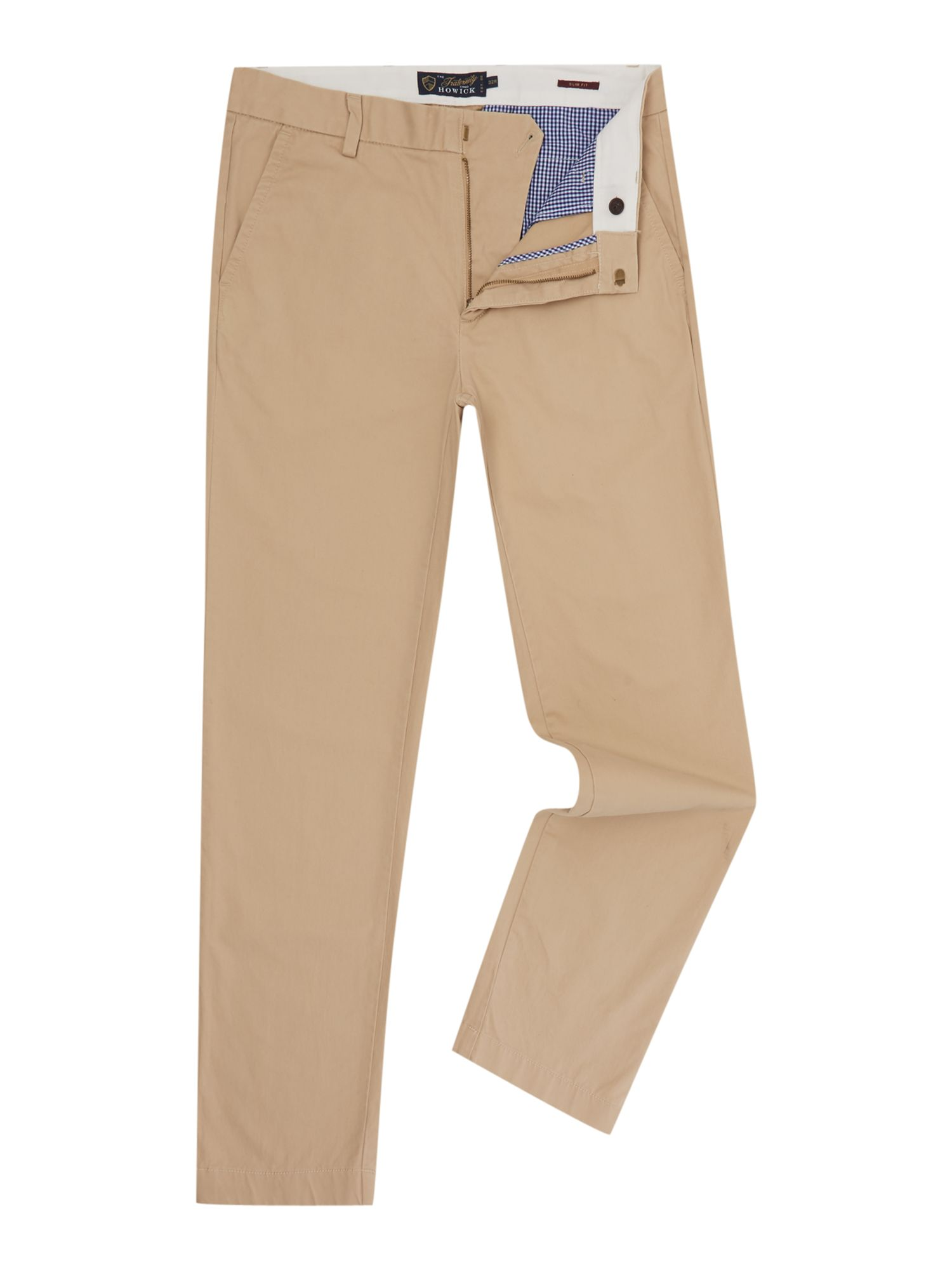 Howick Men's Howick Slim Fit Fraternity Casual Chino, Biscuit