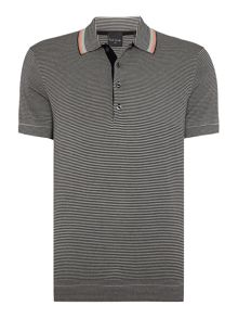 Regular fit stripe knit short sleeve polo shirt