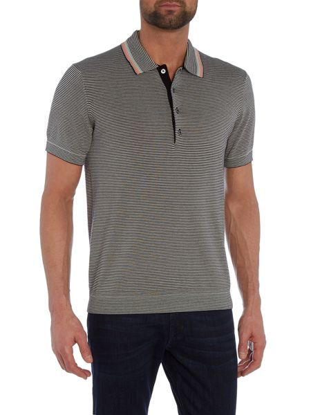 PS By Paul Smith Regular fit stripe knit short sleeve polo shirt