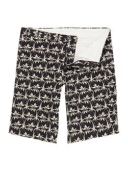 Regular fit all over palm print short