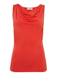 Sleeveless drape neck buckle top