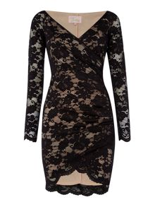 Jessica Wright Long Sleeved V Neck Wrap Lace Bodycon Dress