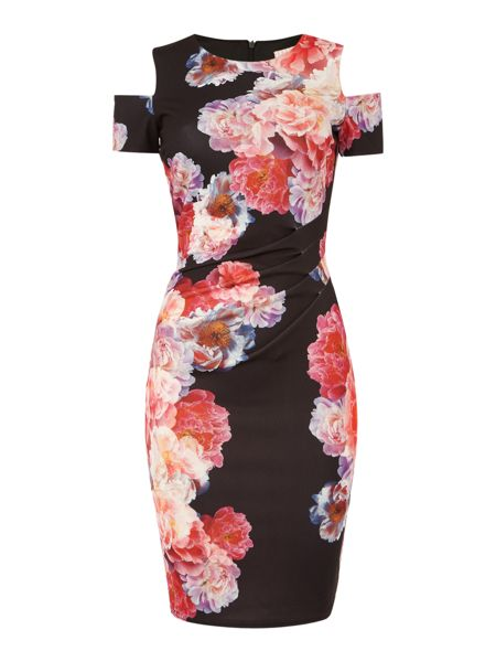 Jessica Wright Cold Shoulder Crew Neck Floral Bodycon Dress