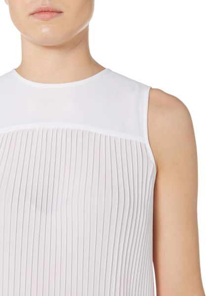 Michael Kors Sleeveless Solid Pleated Top