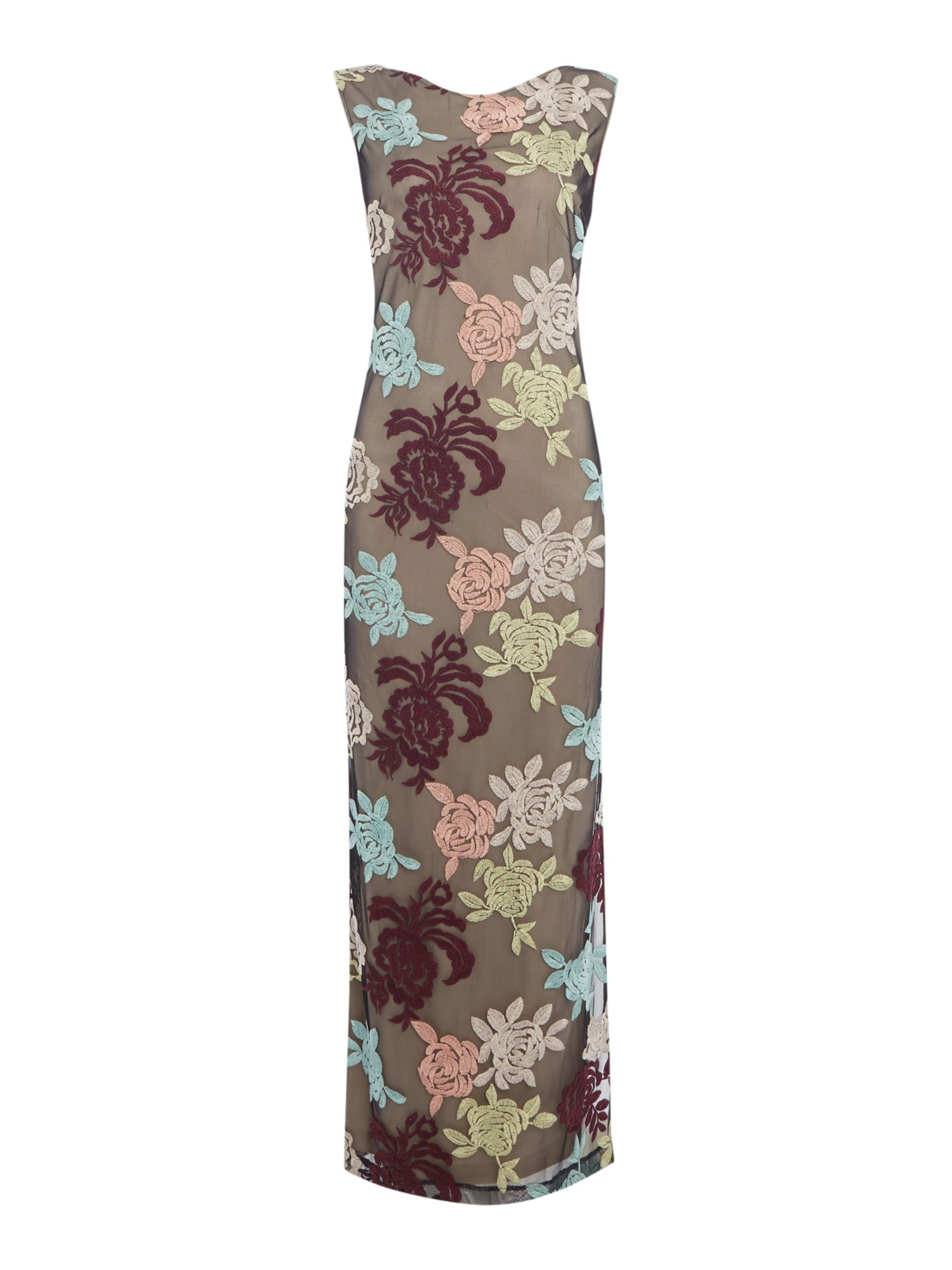 Biba Embroidered floral maxi dress, Multi-Coloured