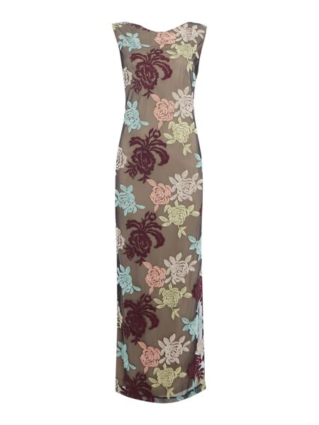 Biba Embroidered floral maxi dress