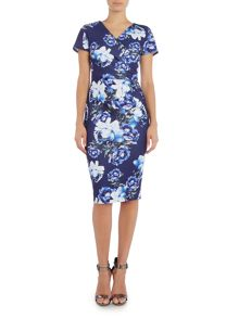 Jessica Wright Cap Sleeve V Neck Bodycon Wrap Dress