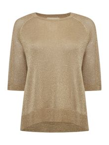 Michael Kors Sleeveless Crew Neck Mesh Top with Side Split