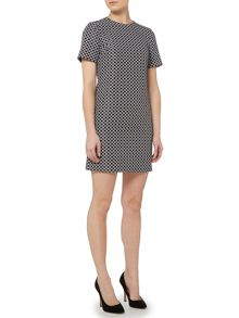 Short Sleeved Printed Shift Dress