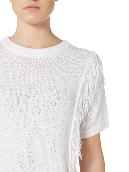 Michael Kors Short Sleeved Fring Front Knitted Sweater