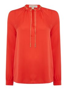 Michael Kors Long sleeve chain neck silk blouse