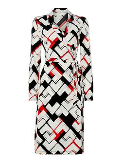 Abstract geo print wrap dress