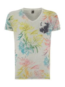 Replay V-neck Yarn-dyed floral jersey T-shirt