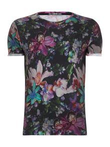 Replay T-shirt with floral print, round neck