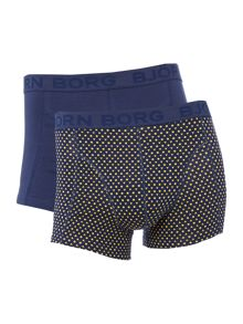 Bjorn Borg 2 pack of tiles dot triangle print & plain trunks