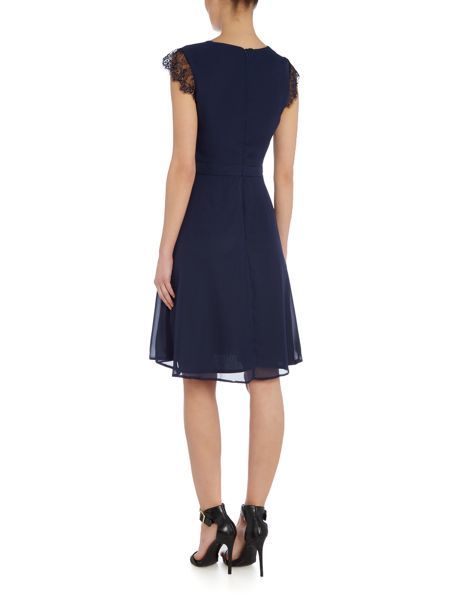 Elise Ryan Cap Sleeve Midi Skater Dress With Lace Trim