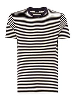 Regular fit crew neck mercerised stripe t shirt