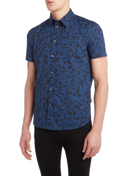 PS By Paul Smith Regular fit all over brush stroke print shirt