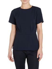 Michael Kors Short Sleeved Pleated Hem Top