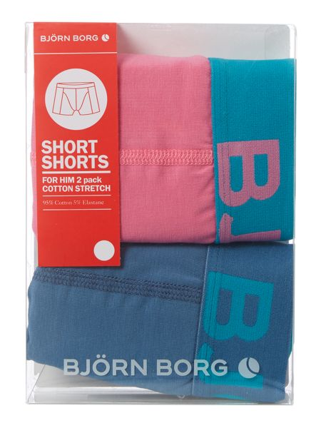 Bjorn Borg 2 pack of contrast waistband solid trunk