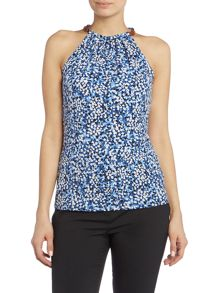 Michael Kors Leather Trim Halter Neck Top