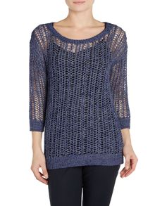 Michael Kors 3/4 Sleeve Denim Tape Knitted Jumper