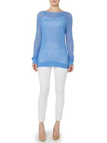 Michael Kors Boatneck Mesh Knitted Sweater