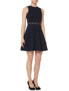 Michael Kors Sleeveless Eyelet Detail Fit and Flare Dress