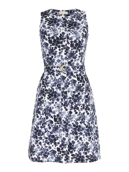 Michael Kors Printed A Line Belted Dress