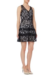 Michael Kors Sleeveless Lace Tier Skirt Dress
