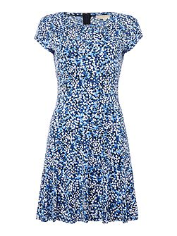 Short Sleeved Printed Fit and Flare