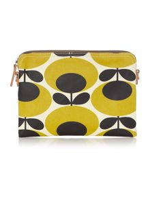 Orla Kiely Giant oval yellow travel pouch clutch