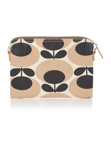 Orla Kiely Giant oval nude travel pouch clutch