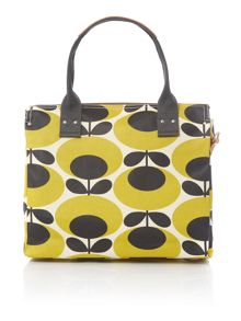 Orla Kiely Giant oval yellow zip messenger bag