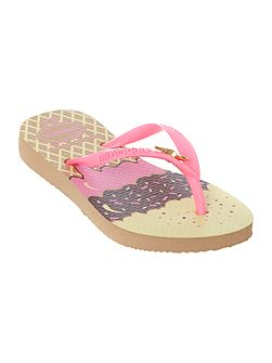 Girls Ice Cream print flip flops