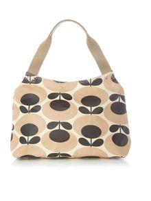 Orla Kiely Giant oval nude zip shoulder bag