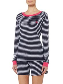 Lauren Ralph Lauren Long sleeve and short striped pajama set