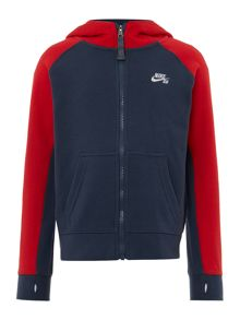 Nike Boys Contrast Sleeve Zip Through Hooded Sweater