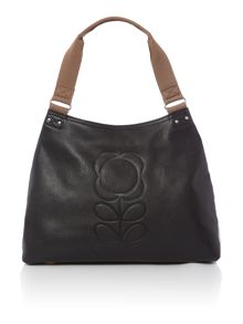 Flower stem black shoulder bag