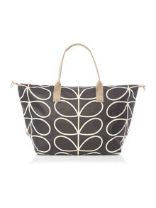 Orla Kiely Core stem black zip holdall bag