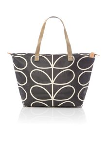 Orla Kiely Core stem black shopper bag
