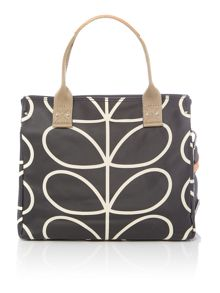 Orla Kiely Core stem black zip messenger bag