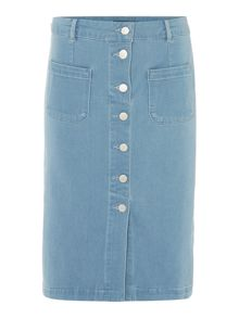 Pied a Terre Button through denim skirt