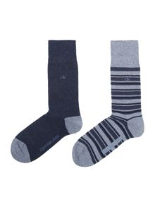 Calvin Klein 2 pack of stripe and solid socks