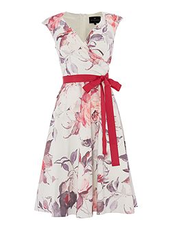 Fit and flare dress with tie waist