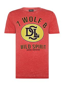 T-Joe regular fit wolf spirit crew neck t